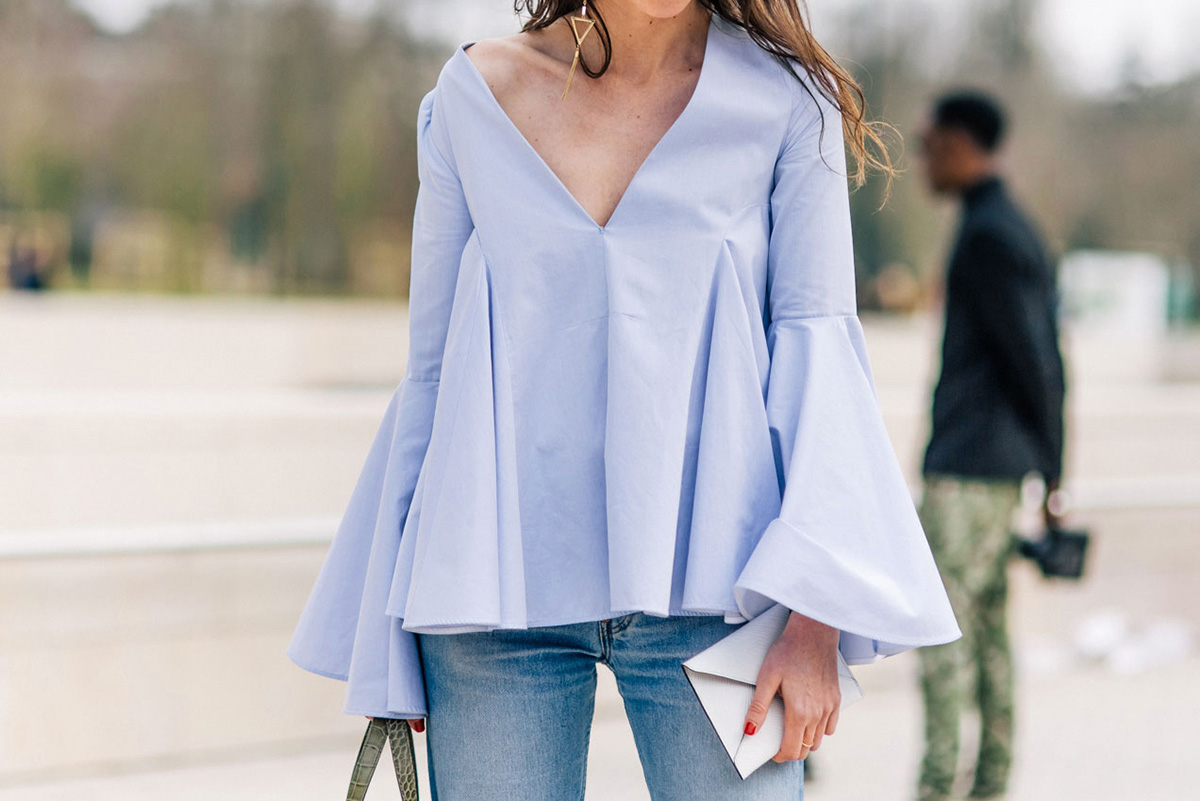 chambray bell or flare sleeved top in Paris