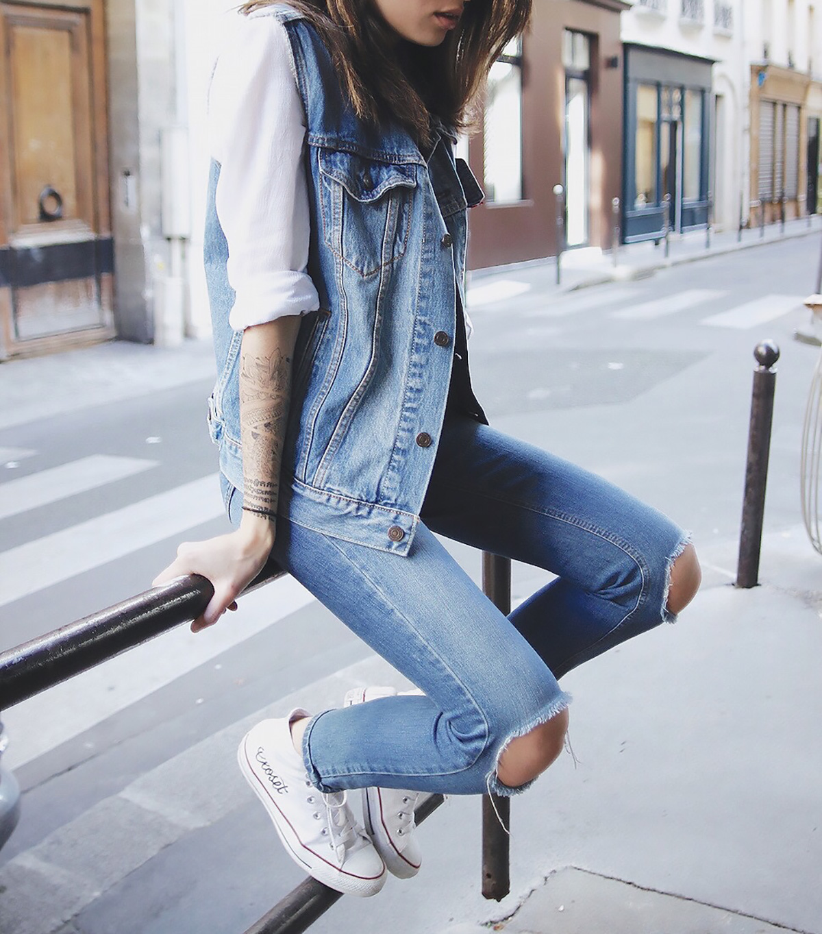 double denim with converse shoes