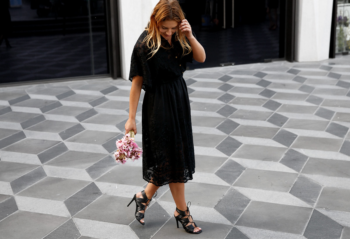 walking through Eastland's Town Square in Zimmermann lace dress