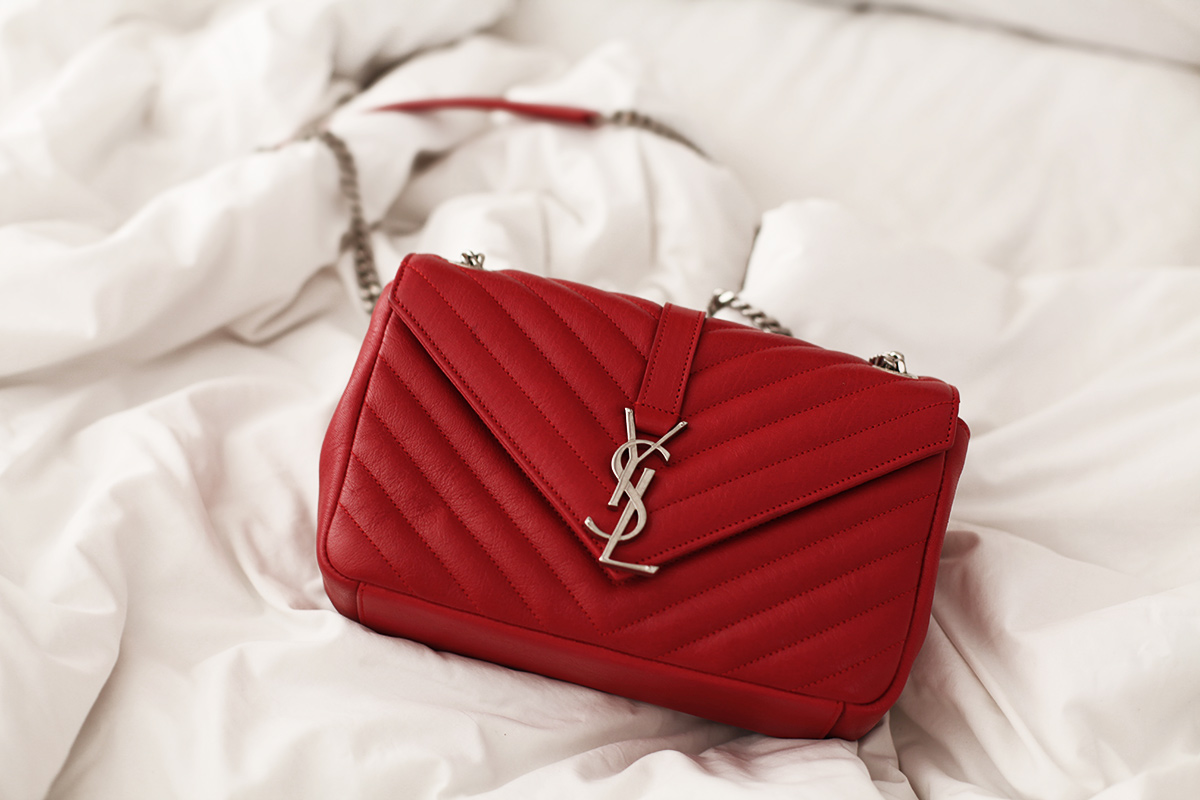 Ysl Red Quilt Monogram Chain Bag