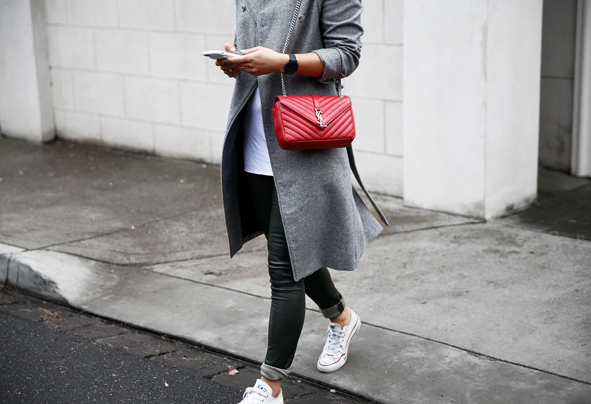 89f047bf48e3 ... grey leather leggings and red saint laurent bag ...
