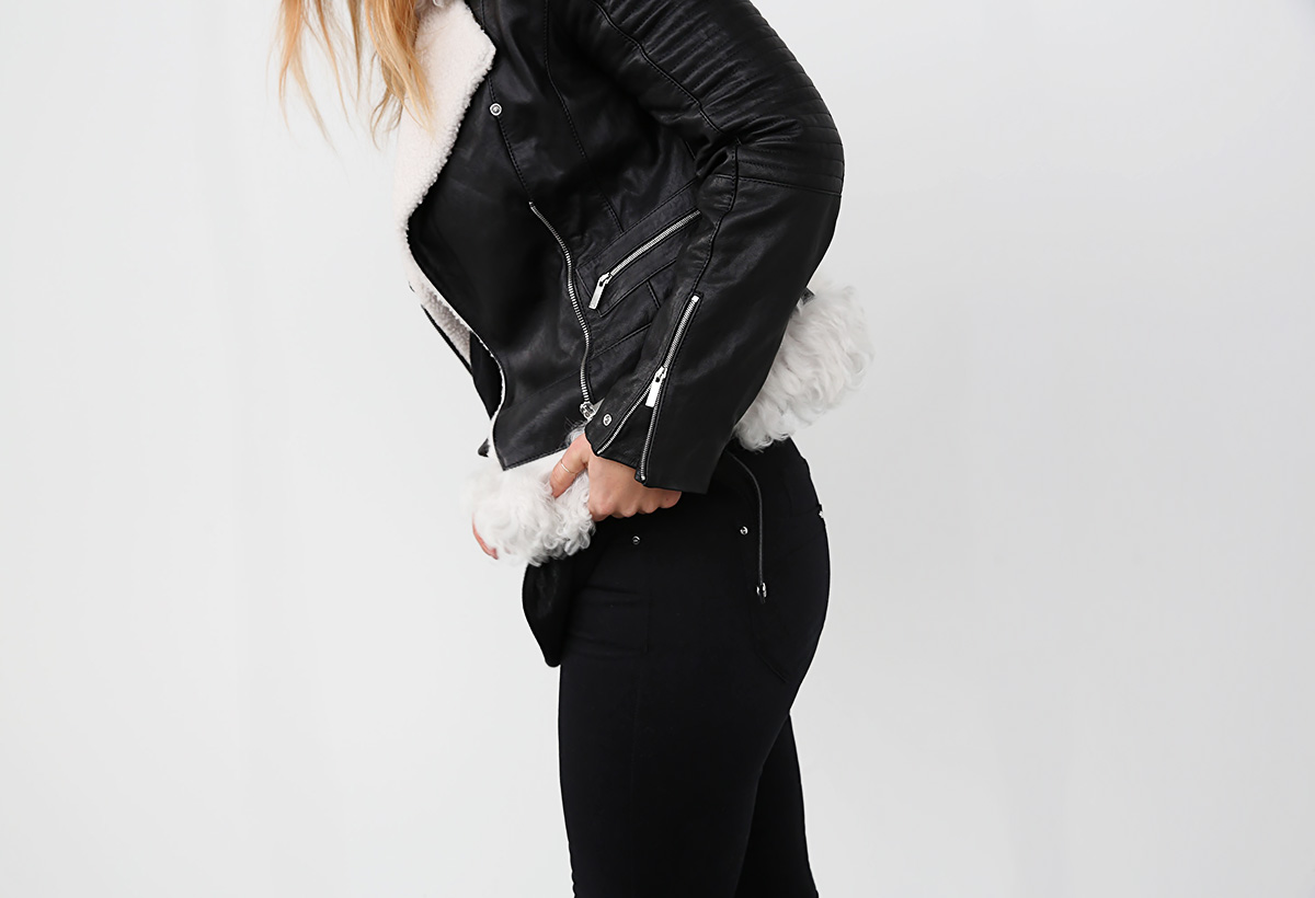 how to wear a black leather shearling jacket
