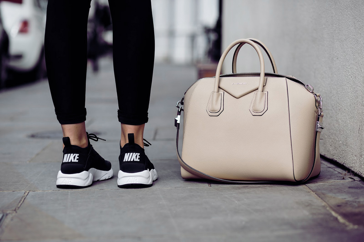 nike black sneakers with givenchy bag