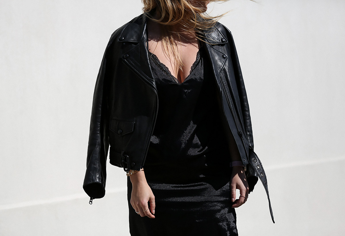 Blogger Lisa Hamilton from See Want Shop styling a lace bodysuit with an Acne Studios leather jacket