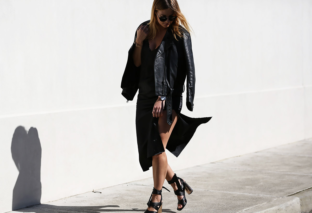 Blogger Lisa Hamilton from See Want Shop styling a lace bodysuit with a black slip dress