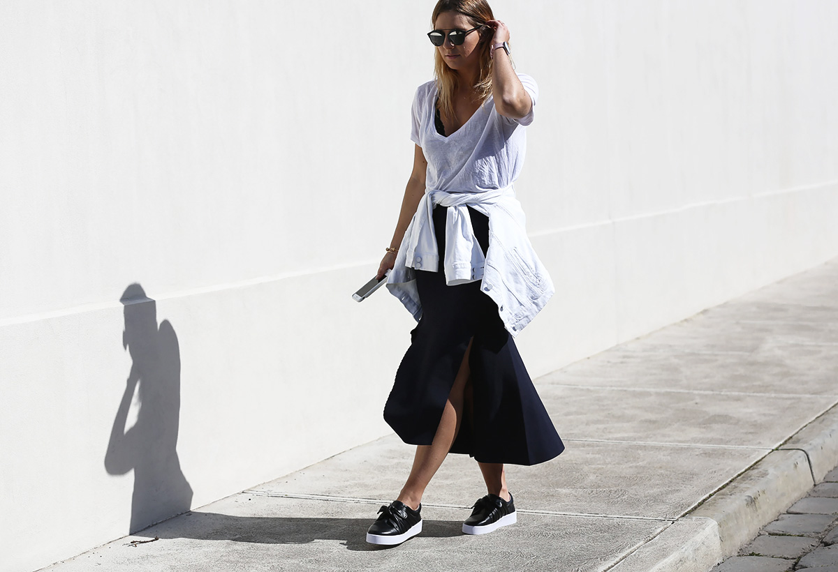 Blogger Lisa Hamilton from See Want Shop styling a lace bodysuit with oversized white tee
