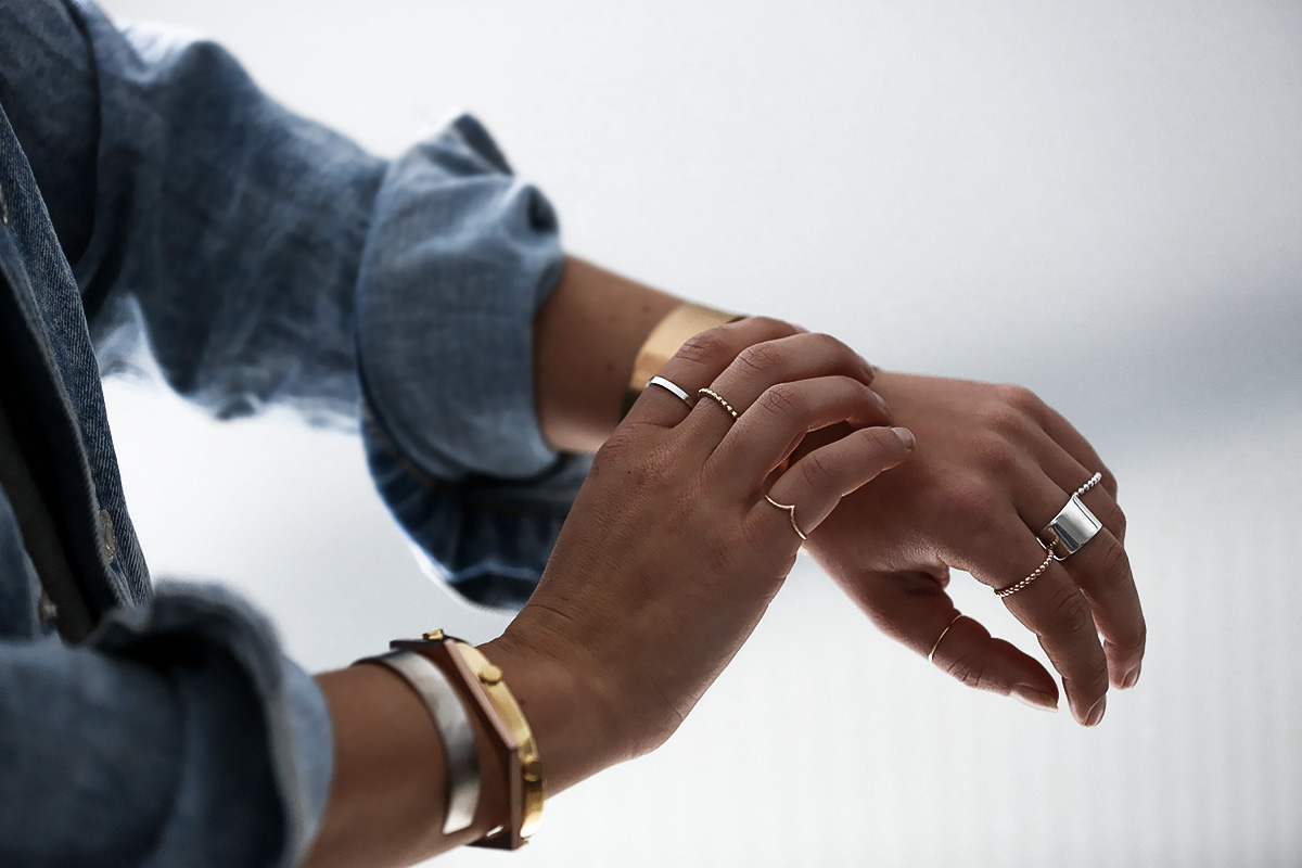 Blogger Lisa Hamilton from See Want Shop styling fine silver & gold rings & cuffs from Eastland