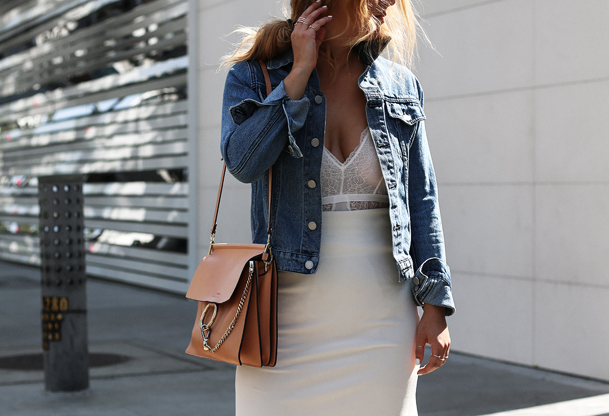 Style blogger Lisa Hamilton from See Want Shop styling the Chloe faye bag on Rodeo Drive, Beverly Hills