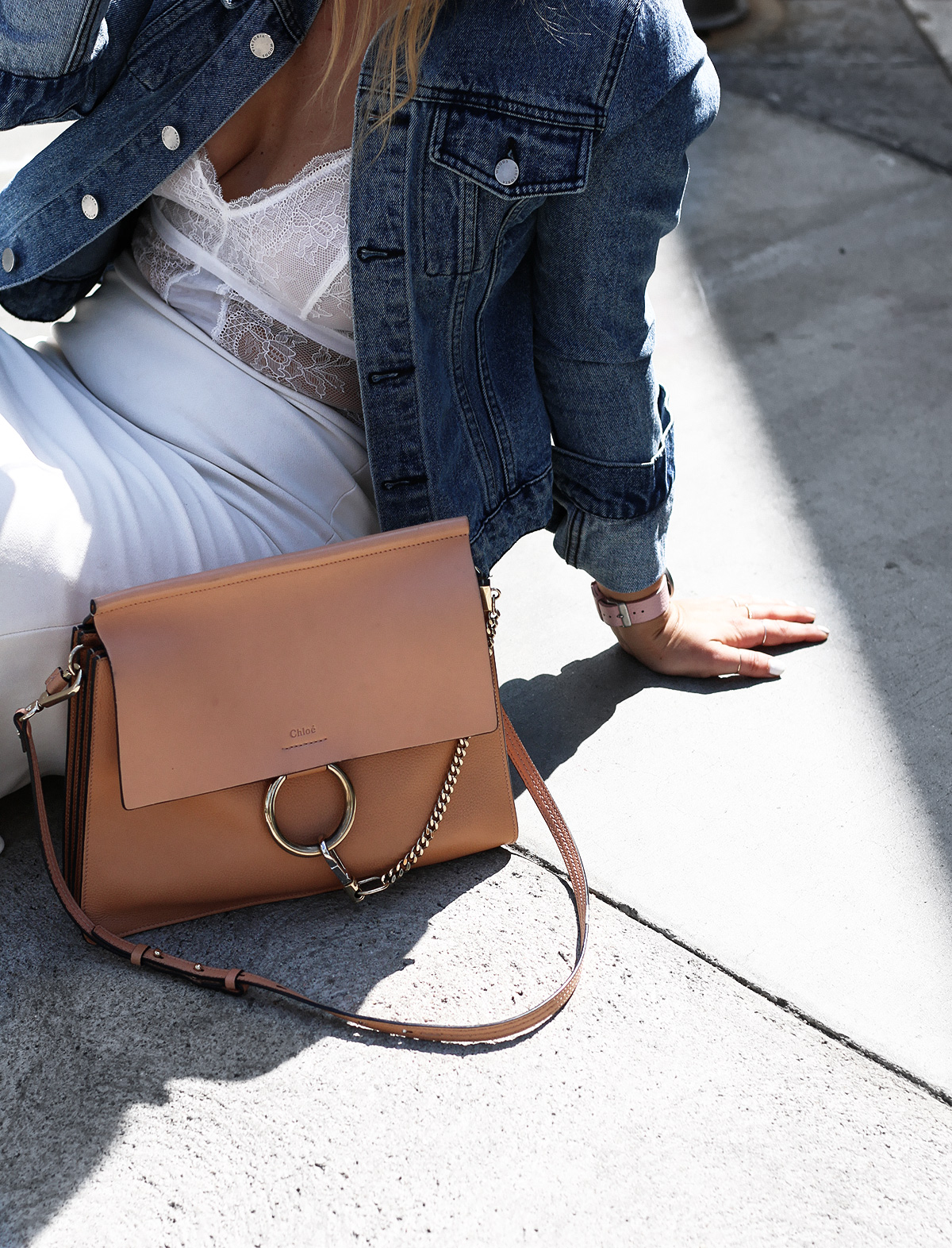 Fashion blogger Lisa Hamilton from See Want Shop styling a lace bodysuit with the Chloe faye bag