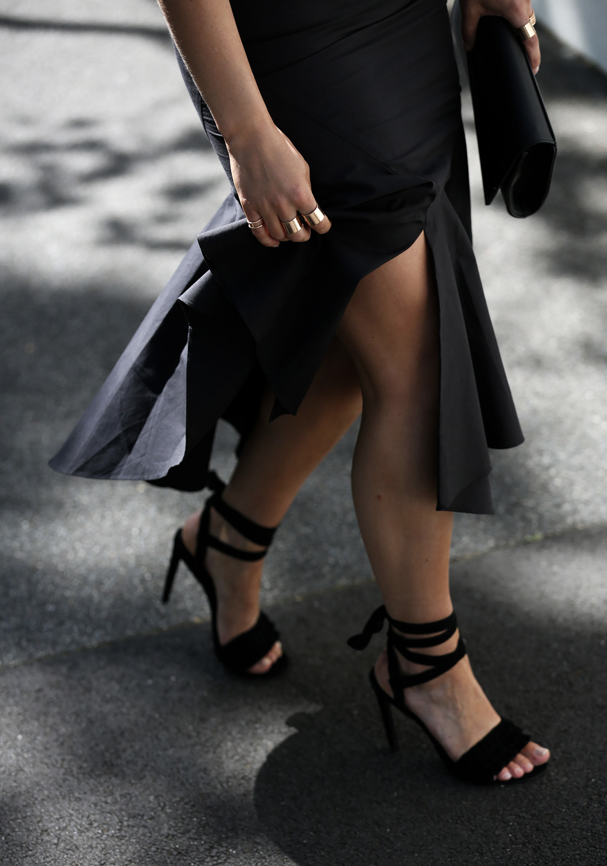 Australian style blogger Lisa Hamilton wearing a C/meo Collective split skirt with Colette by Colette Hayman accessories