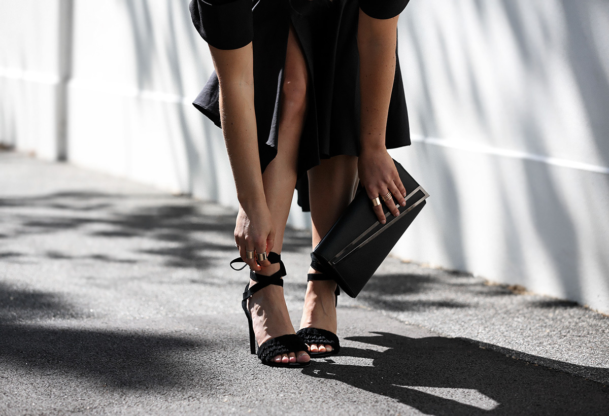 Australian style blogger Lisa Hamilton wearing Senso lace up heels with Colette by Colette Hayman accessories