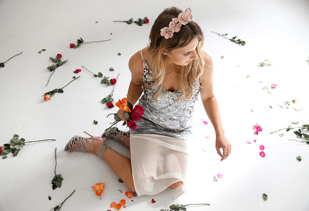 Australian fashion blogger Lisa Hamilton styling a sequin Keepsake dress & leather flower crown for Melbourne Cup Day