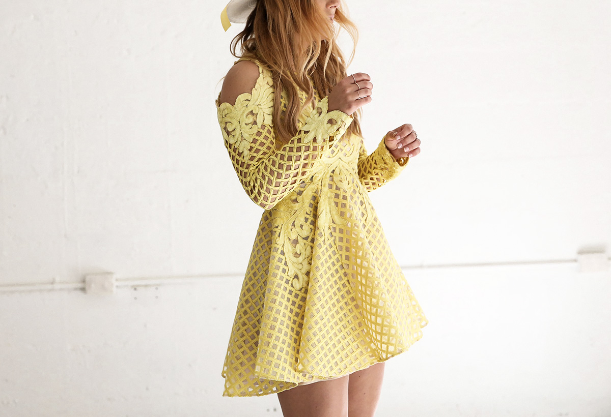 Fashion Blogger Lisa Hamilton, from See Want Shop, styles a Thurley yellow  lace dress for Stakes Day at the spring races