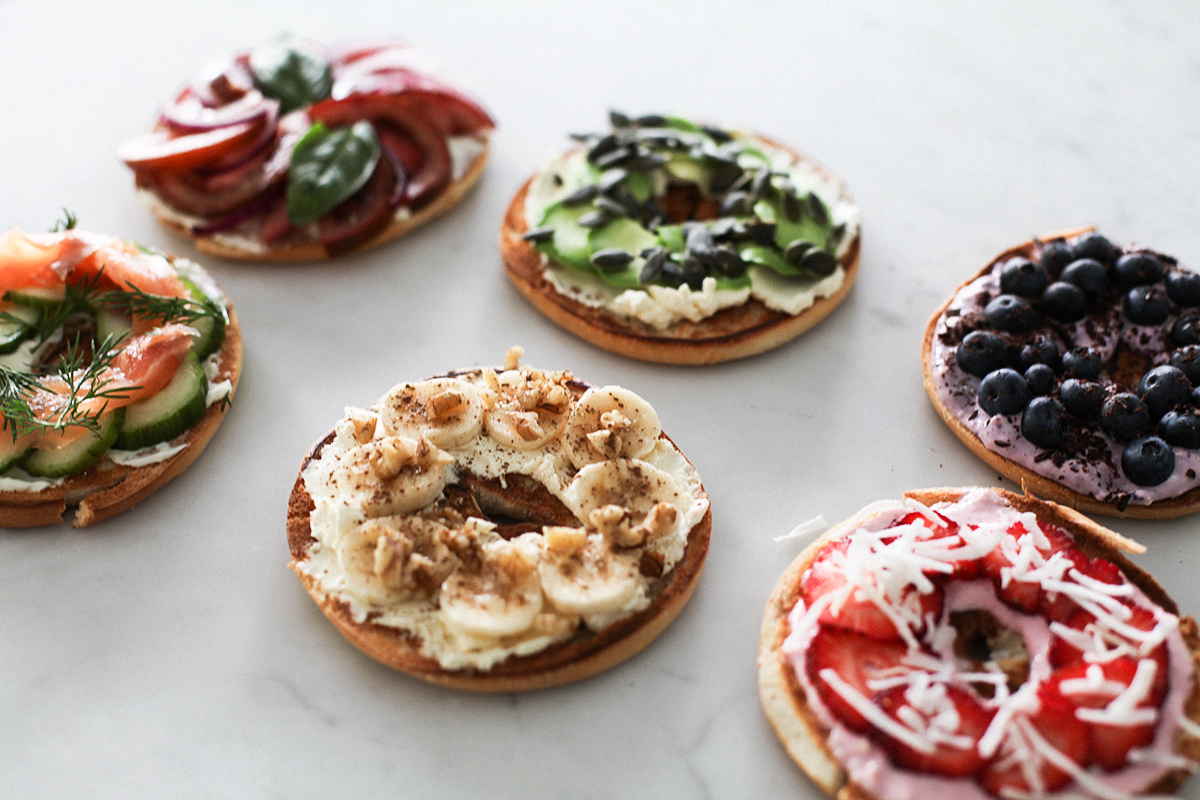 Health blogger Lisa Hamilton from See Want Shop giving a recipe for healthy bagel toppings with Philadelphia cream cheese