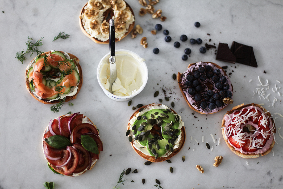Health blogger Lisa Hamilton from See Want Shop creating savoury and sweet healthy bagel toppings with Philadelphia cream cheese
