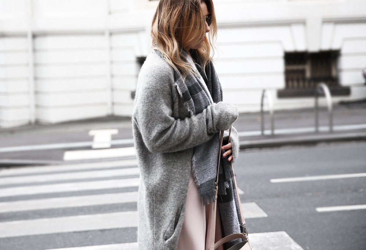 Fashion blogger Lisa Hamilton from See Want Shop wearing The Fifth Label dress & Acne Studios knit cardigan on sale at Cyber Monday