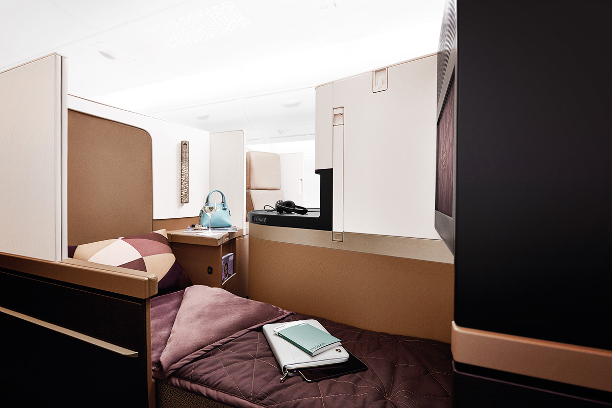 See Want Shop travel blogger Lisa Hamilton experiencing Etihad Airway's business class cabin