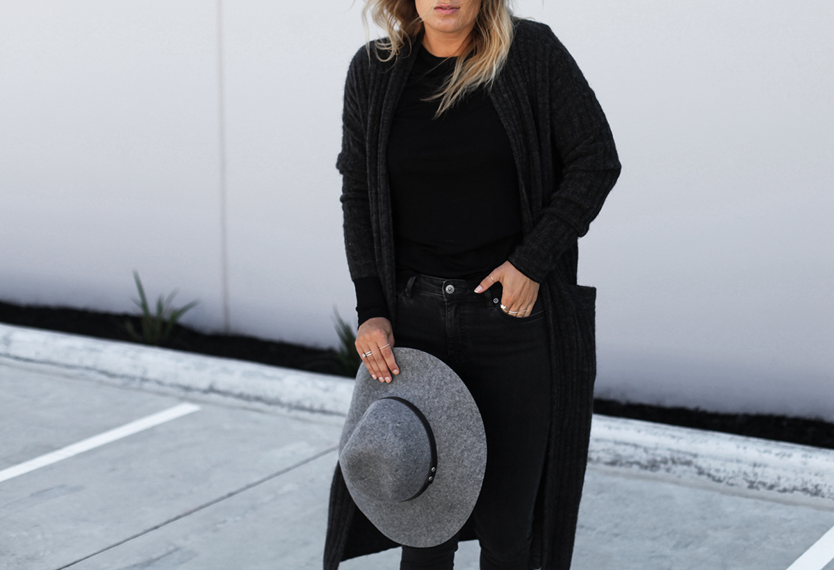Style blogger Lisa Hamilton from See Want Shop wearing Country Road country road grey knit cardigan