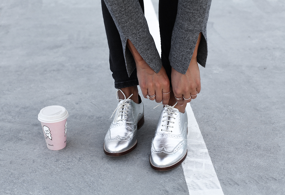 Style blogger Lisa Hamilton from See Want Shop wearing Country Road metallic brogues