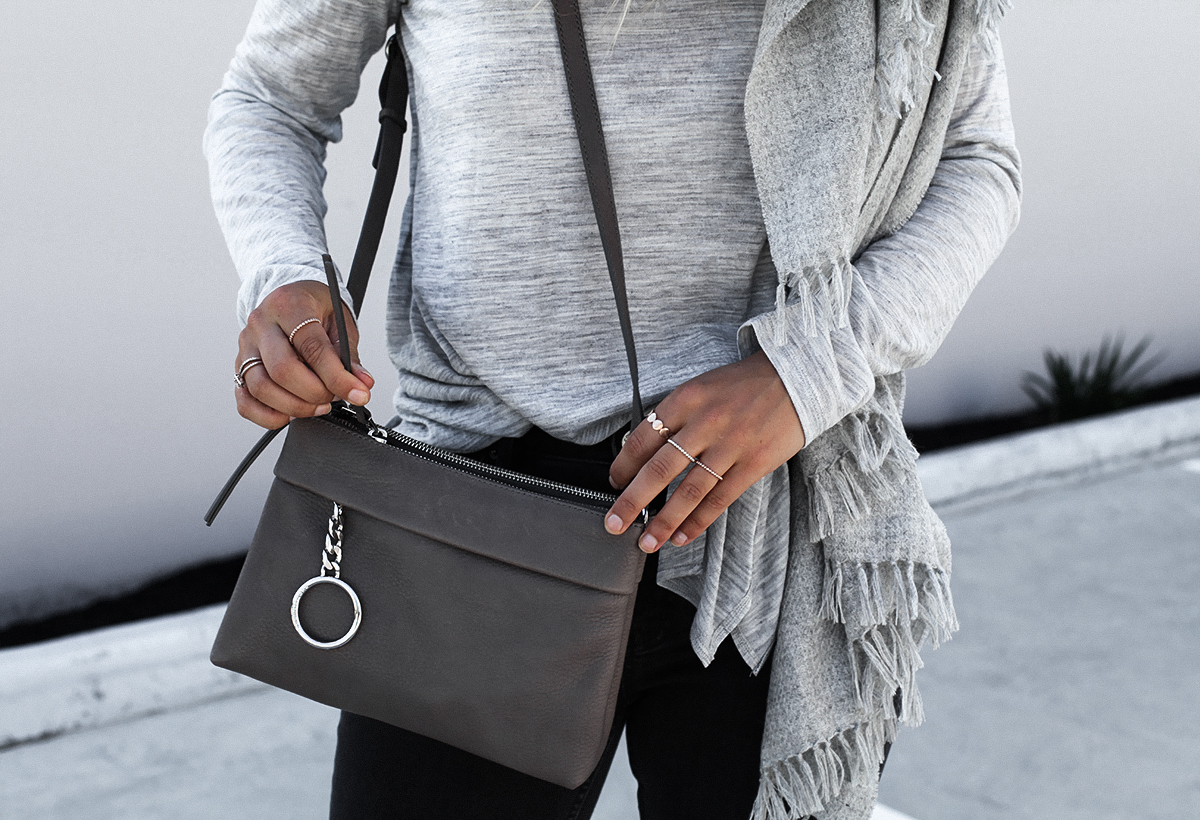Style blogger Lisa Hamilton from See Want Shop wearing Country Road grey knit & cross body bag