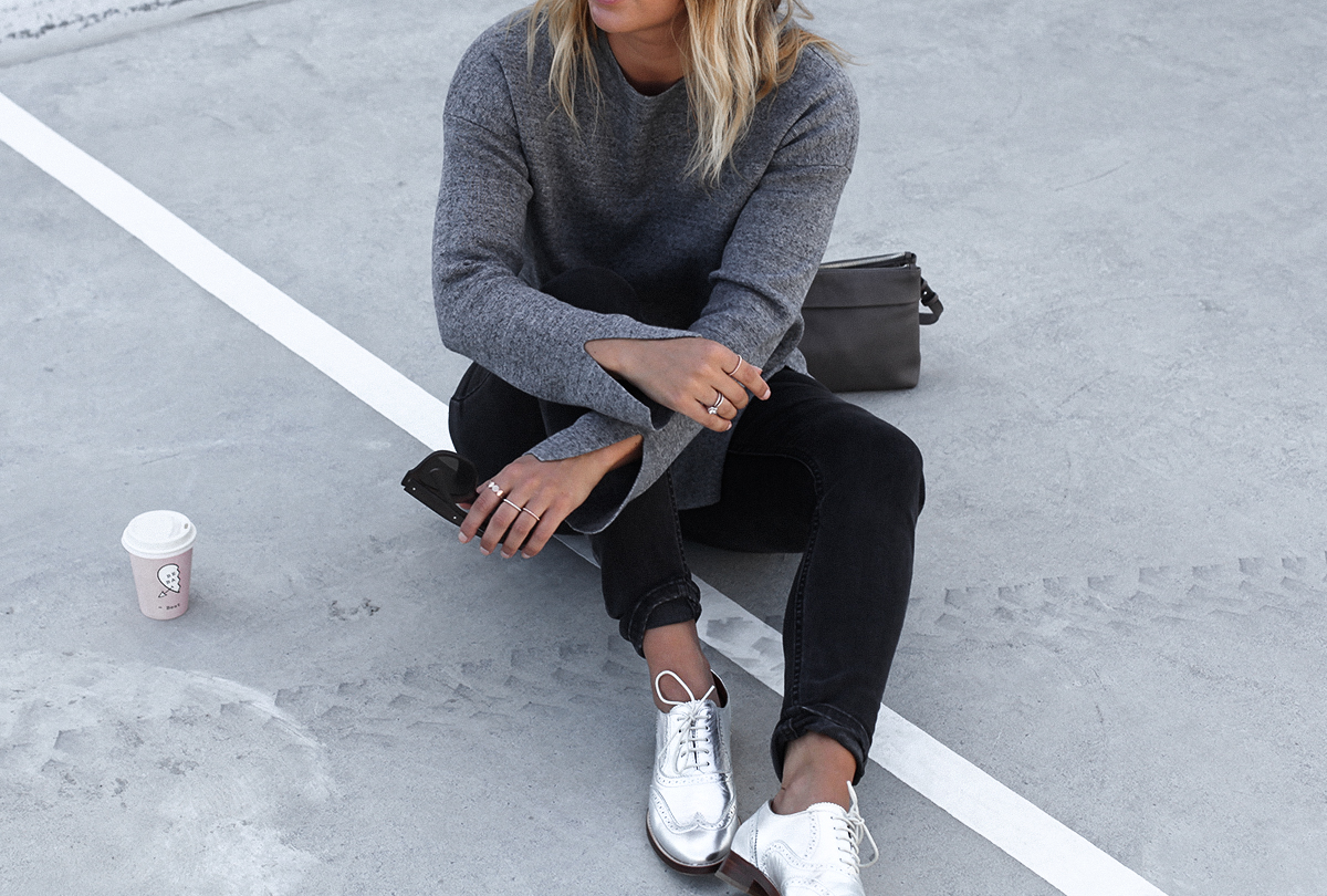 Style blogger Lisa Hamilton from See Want Shop wearing Country Road metallic brogues & skinny jeggings