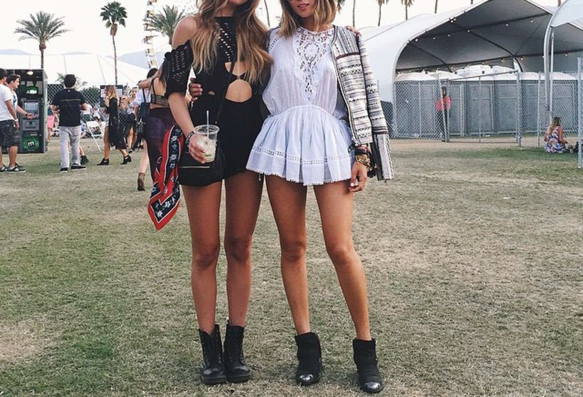 Style blogger Lisa Hamilton from See Want Shop compiling the best Coachella outfits with a lace romper and ankle boots