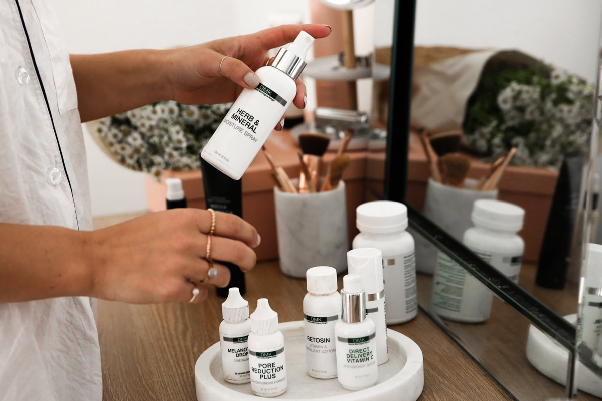 Blogger Lisa Hamilton from See Want Shop using DMK skin products to achieve clear skin