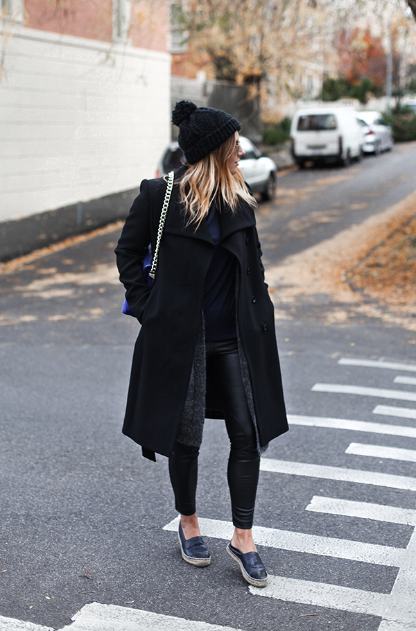 Australian fashion blogger Lisa Hamilton styling an all black outfit from Karen Millen for Autumn with Chanel espadrilles