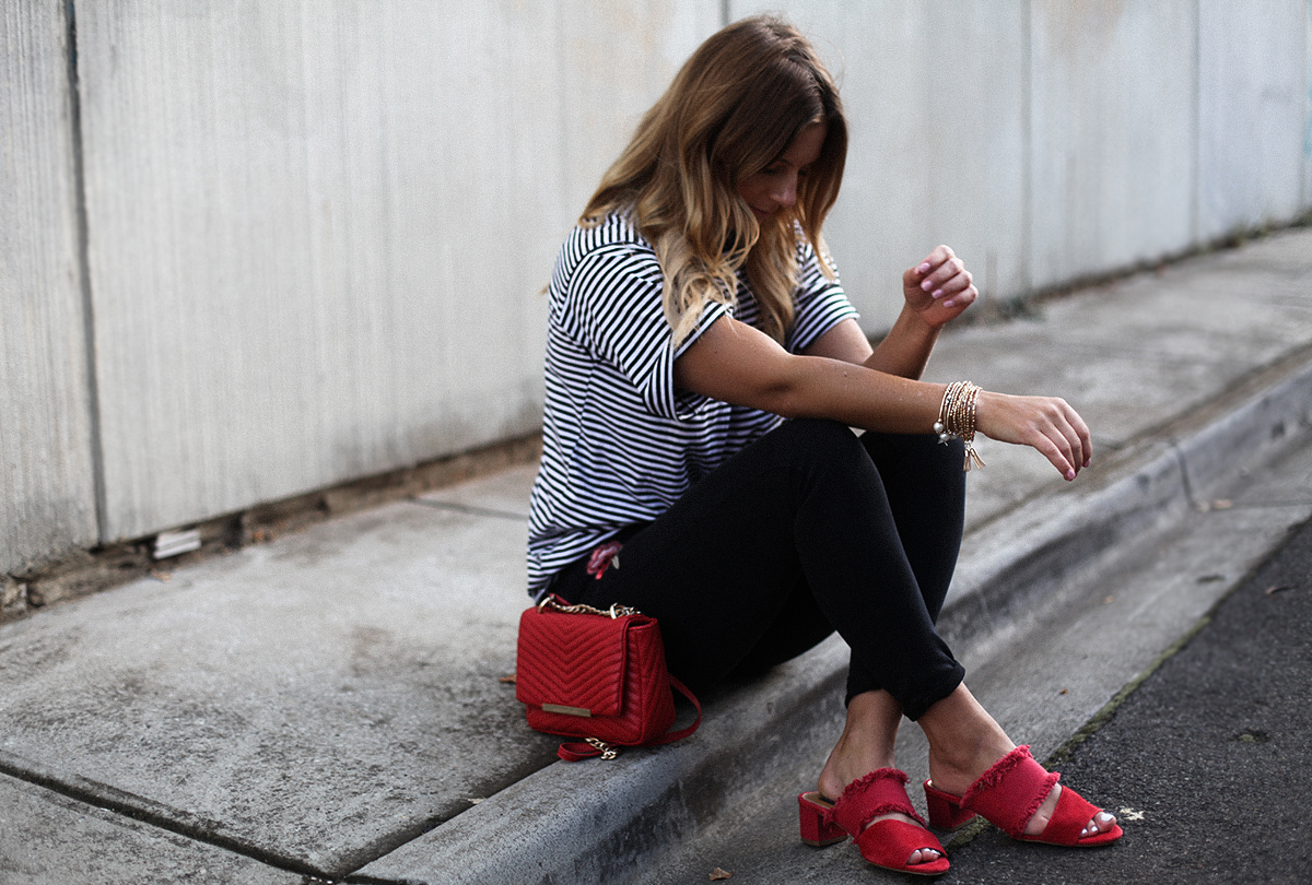 fashion blogger, quilted chain bag, embroidered jeans, stripe tee