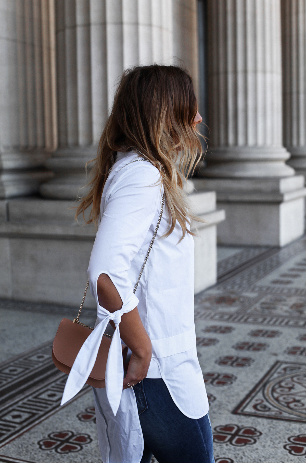 Style blogger Lisa Hamilton styling the Karen Millen white shirt capsule collection