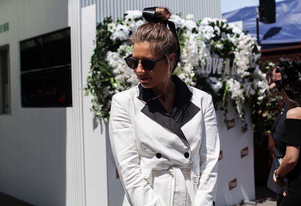 Blogger Lisa Hamilton in topknot at Derby Day