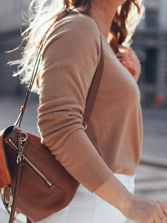 uniqlo cashmere knit sweater & chloe faye backpack
