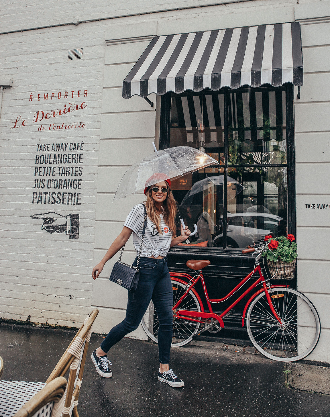 French style outfit in the rain